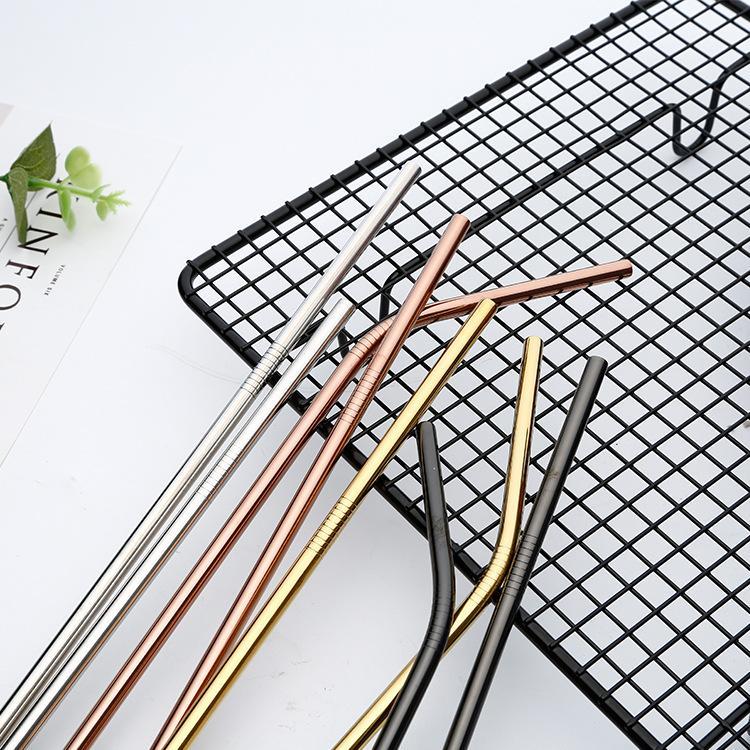 reutilizável palha de metal 304 resistente aço inoxidável palha reta dobrado ambientalmente amigável beber com bar escova limpa