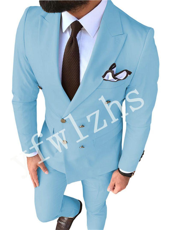 Newest Double-Breasted Groomsmen Peak Lapel Wedding Groom Tuxedos Men Suits Wedding/Prom/Dinner Best Man Blazer(Jacket+Tie+Pants) T73