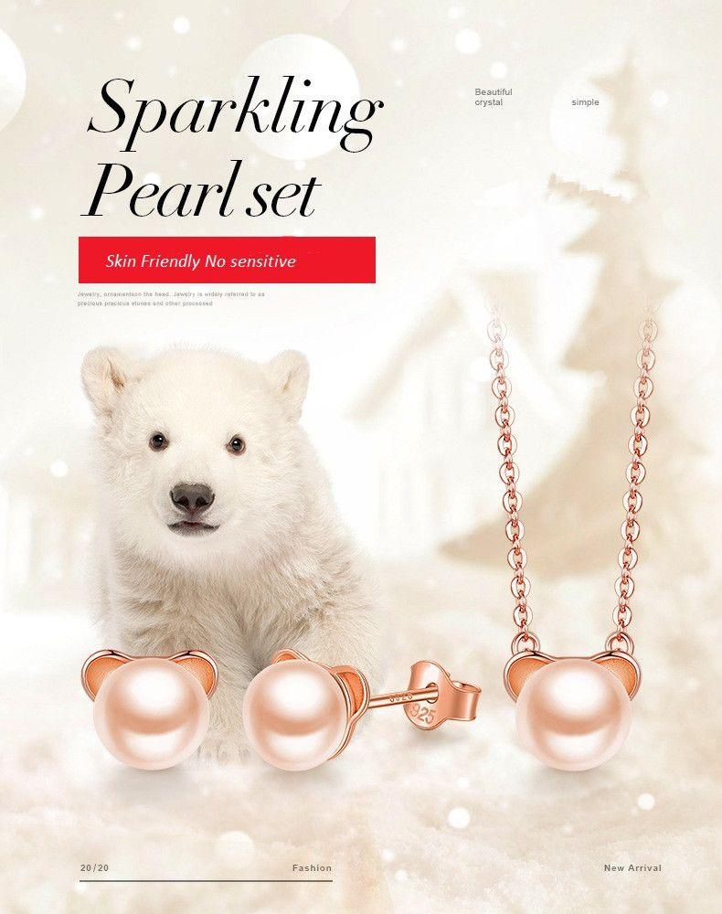 S925 Splitter Art und Weise Halskette schöne Bären Earing Halskette Perlenkette und Ohrringe rosafarbene Vergoldung Zubehör Partei jewerly