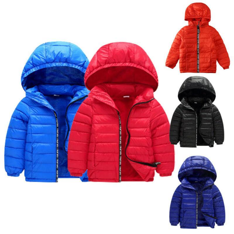 Criança Meninos Meninas casaco de capuz casaco quente Unisex inverno dos miúdos Algodão de Down Outwear Parkas Para 3-8T
