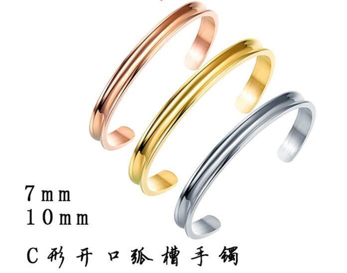 la moda caliente de 7 mm grabado Pulsera abierta C - surco del arco pulsera de acero de titanio