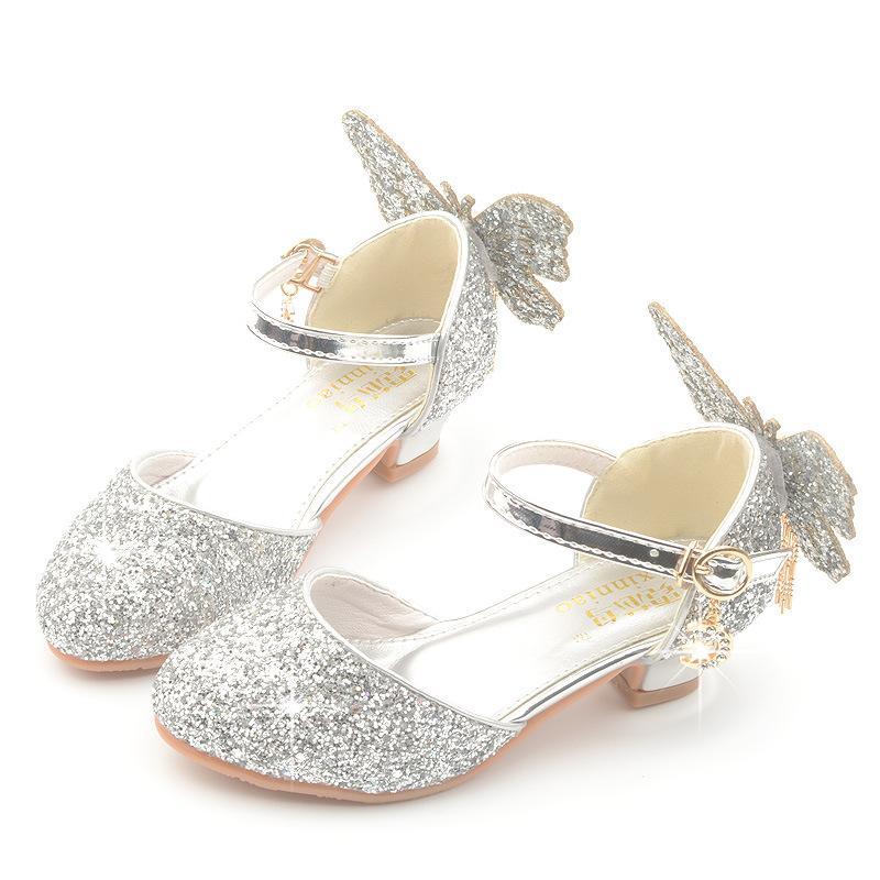 Style coréen arc princesse haut talon chaussures printemps et en automne New Style Enfants Cristal Rose Chaussures Argent Biao yan xie