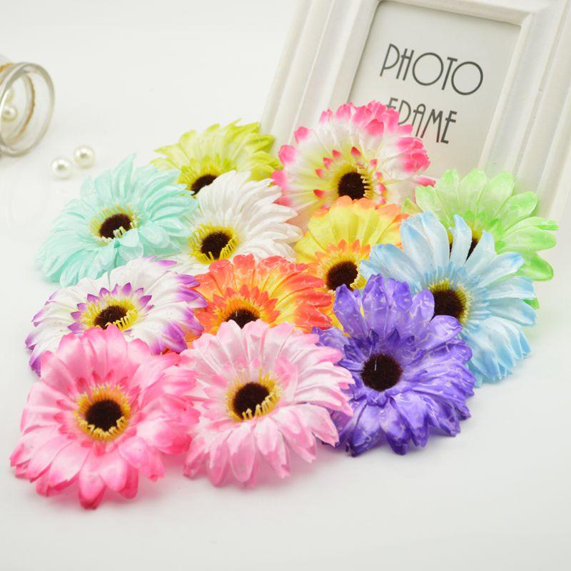 10pcs cheap Artificial Gerbera Daisy Silk Flowers For home Wedding car Party Decorative DIY Wreath material festival simulation
