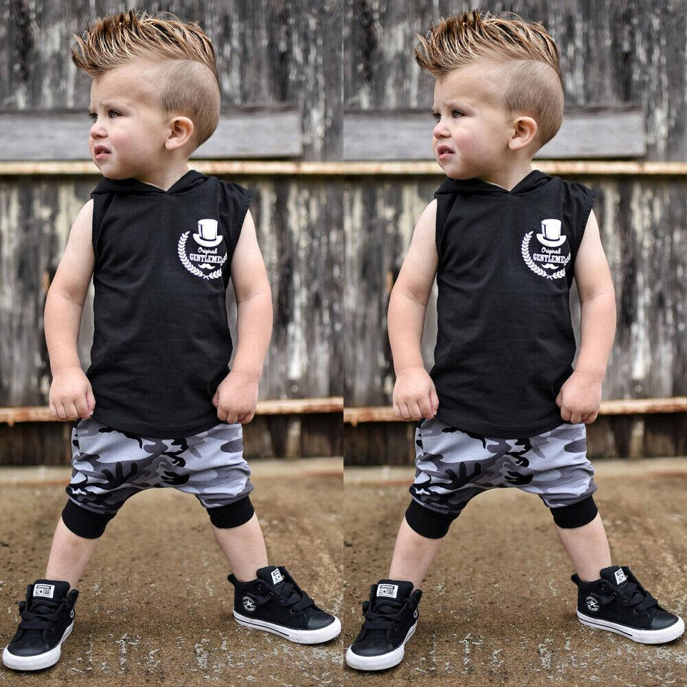 Handsome Boy Child Kid Baby Tops T-Shirt Camo Pants Casual Tracksuit Clothes Set