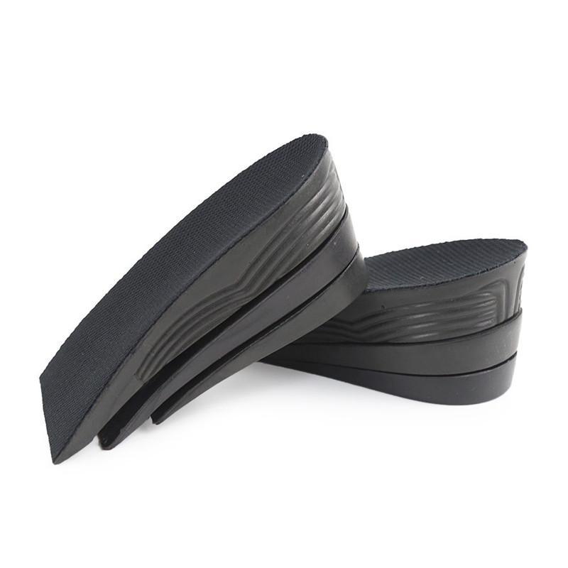1 pair Adjustable Height Increase Insoles PU Black 3 Layer Design 5 cm Air Cushion Unisex Heel Half Insert Pads