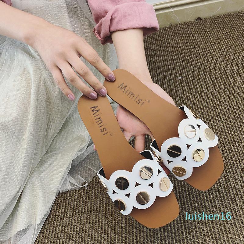 SMONSDLE Un mot vague d'usure de la mode d'été faire glisser le point 2019 nouvelle version coréenne de sandales sauvages plage femme A96 L16