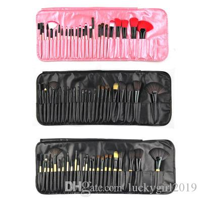 24pcs sistema de cepillo profesional del maquillaje + Negro la bolsa del cosmético cepilla el 4 de color nueva