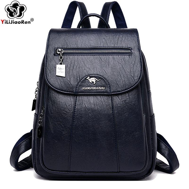 Zaino donne Zaino Fashion Designers Marca Grande zaino a spalla per Cuoio Scuola Style Bag for College Mochilas T200428