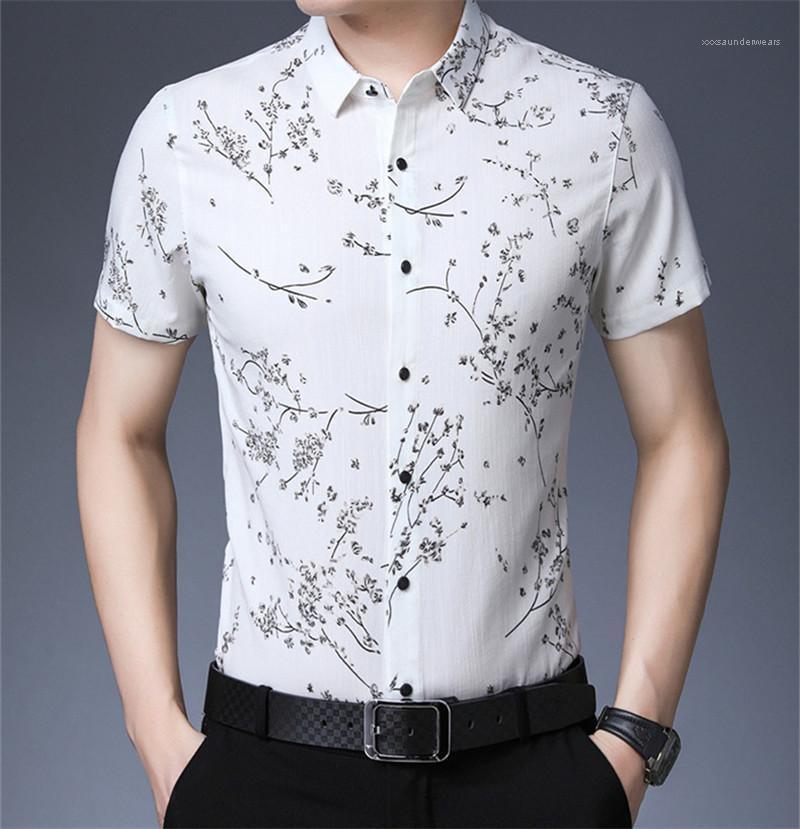 Polo manches courtes Mode Lapel T-shirts Casual Slim Mens T-shirts d'été imprimé floral Mens