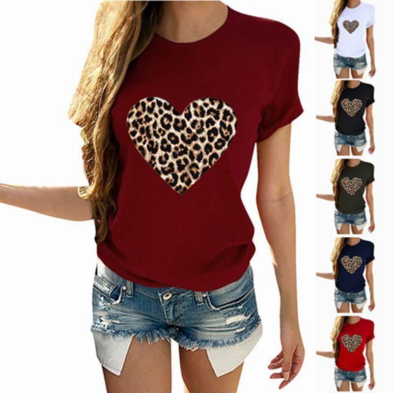 Designer Big Love Tees Vestuário Feminino Crew Neck Womens Manga Curta T-shirt Casual Luxury Tops da cópia do leopardo
