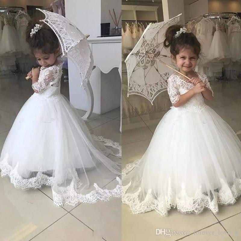 2019 Latest Cute Jewel Flower Girl Birthday Dresses Ball Gown Sheer Neck Half Sleeve With Lace Applique Kids Girls Pageant Dresses