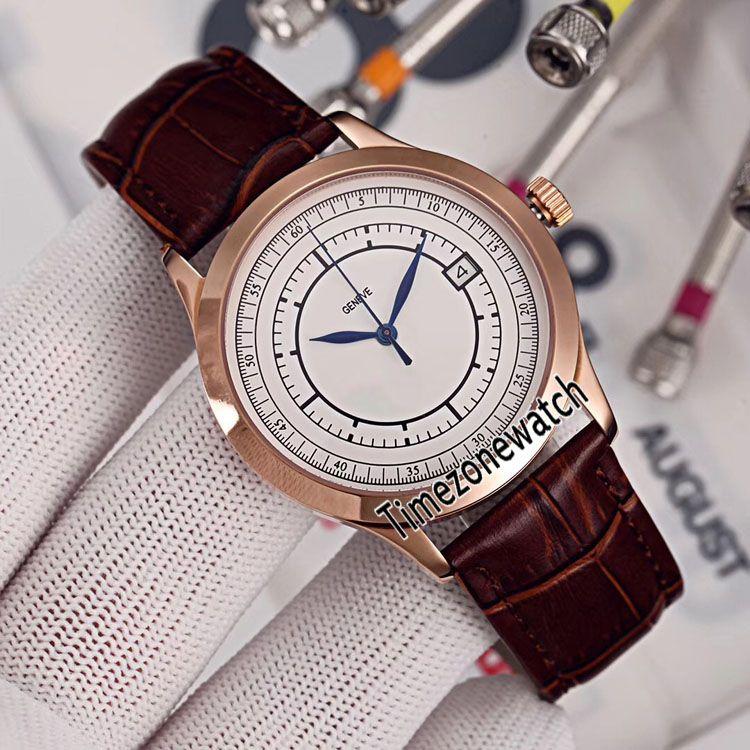 Nouveau Calatrava 5296R-001 Montre Homme Automatique 41mm Or Rose Cadran Blanc Date Marron Leahter Montres 6 Couleurs Pas Cher Timezonewatch E27a1
