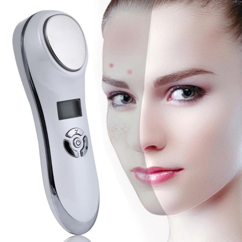 Ultrasónico portable caliente fría de terapia del sonido vibrante de la piel facial Esencia Cuidado Ion Introducción instrumento de la belleza facial Rejuvenecimiento