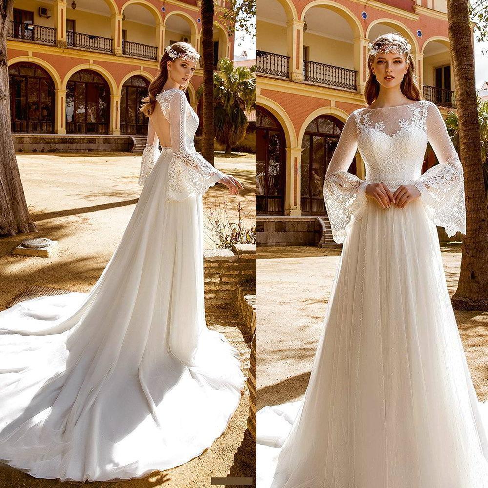 Vestido de casamento Bohemian A-Line Wedding Dresses Sino mangas compridas Lace apliques oco Voltar Tribunal Trem Praia vestidos de noiva Boho Vestidos
