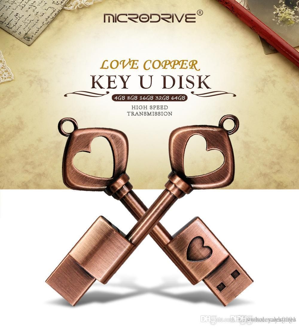 2019 NEW Vintage key pendant metal usb flash drive USB 2.0 love cooper key U disk Flash Memory Stick Storage Drive high speed transmission