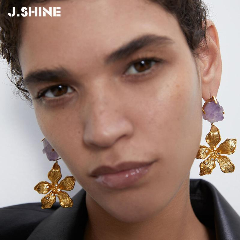 Pendientes de gota grande de la flor J.Shine metal color oro Moda Mujeres grandes Declaración pendientes geométrica druzy regalos de joyería al por mayor