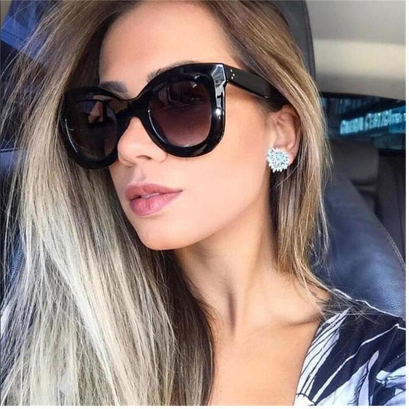 occhio Punti di New progettista ha ispirato Vintage quadrato nero Cat Eye Glasses femminile Occhiali da sole cat datati occhiali da sole