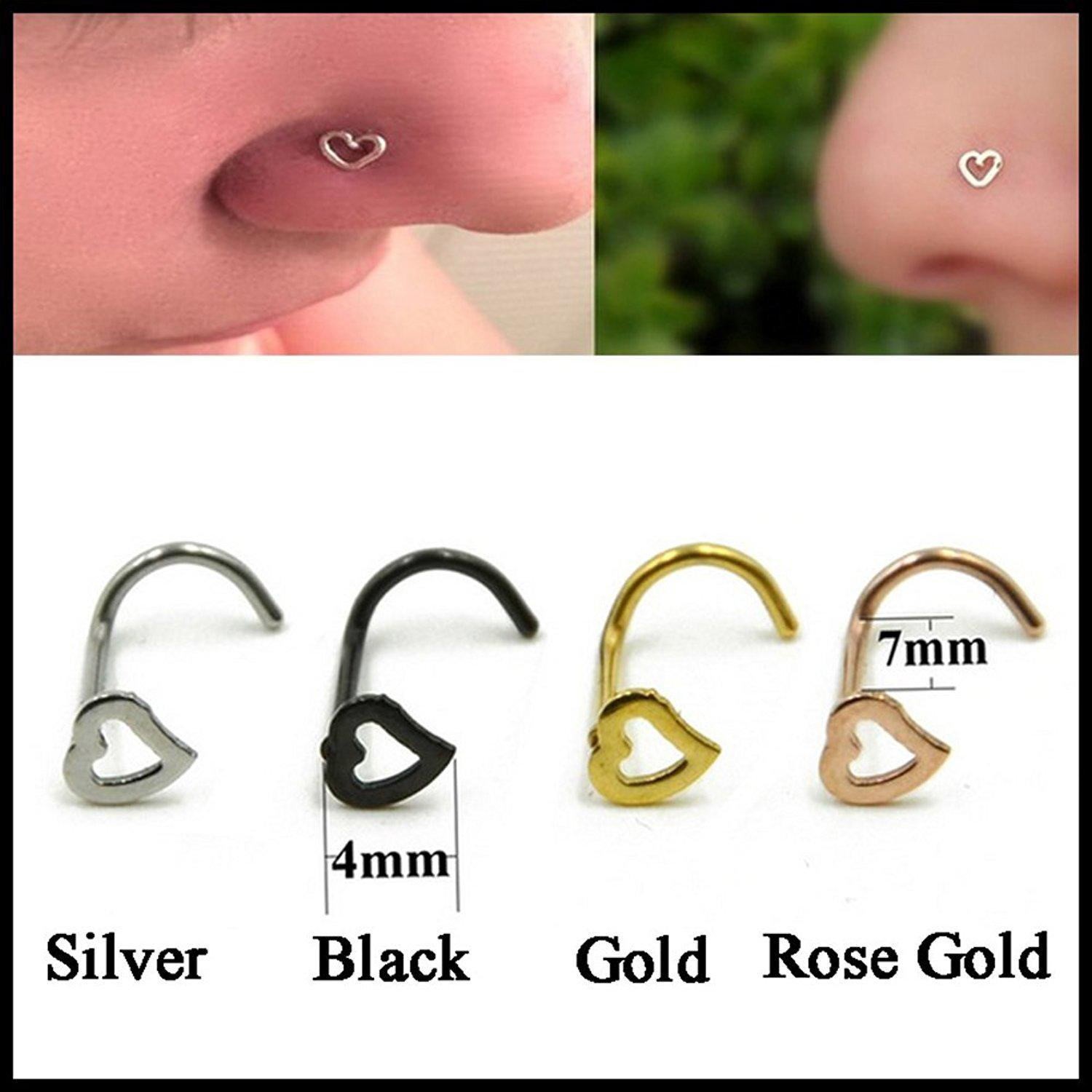 Wholesale New Heart Shape Noe Stud Surgical Steel S Nose Rings Body Jewelry Fashion Charming Nose Piercing Accessories