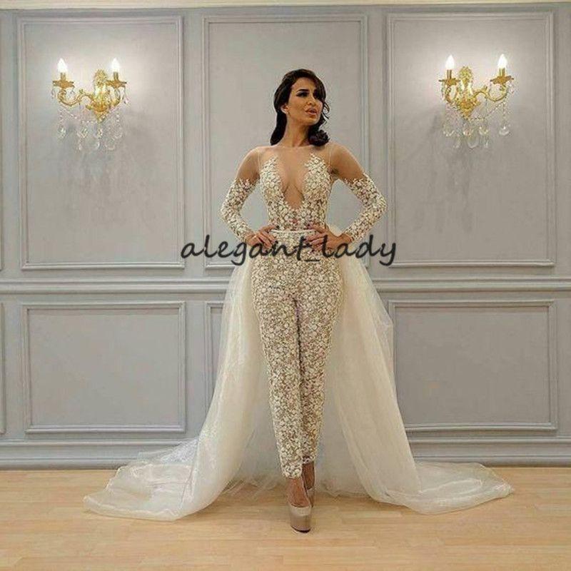 Ivory Champagne Jumpsuit casamento com trem destacável 2020 Illusion manga comprida Sheer Neck Árabe Bride Dress com Pant Suit