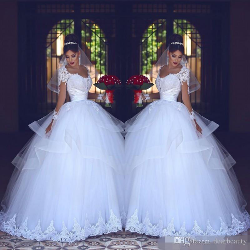 2021 낭만적 인 사우디 아랍어 플러스 사이즈 레이스 공 가운 웨딩 드레스 신부 가운 얇은 웨딩 웨딩 드레스