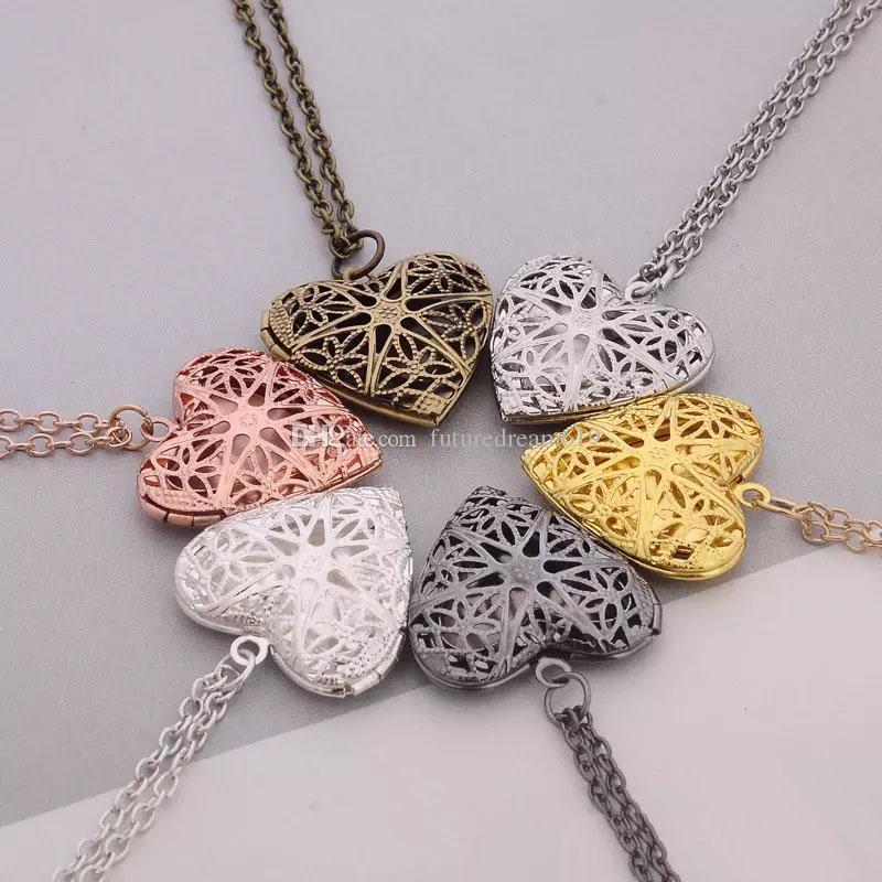 Vendita calda Nuovo regalo di gioielli amante di San Valentino scava fuori cornici cuore aperto collane di ciondoli medaglione