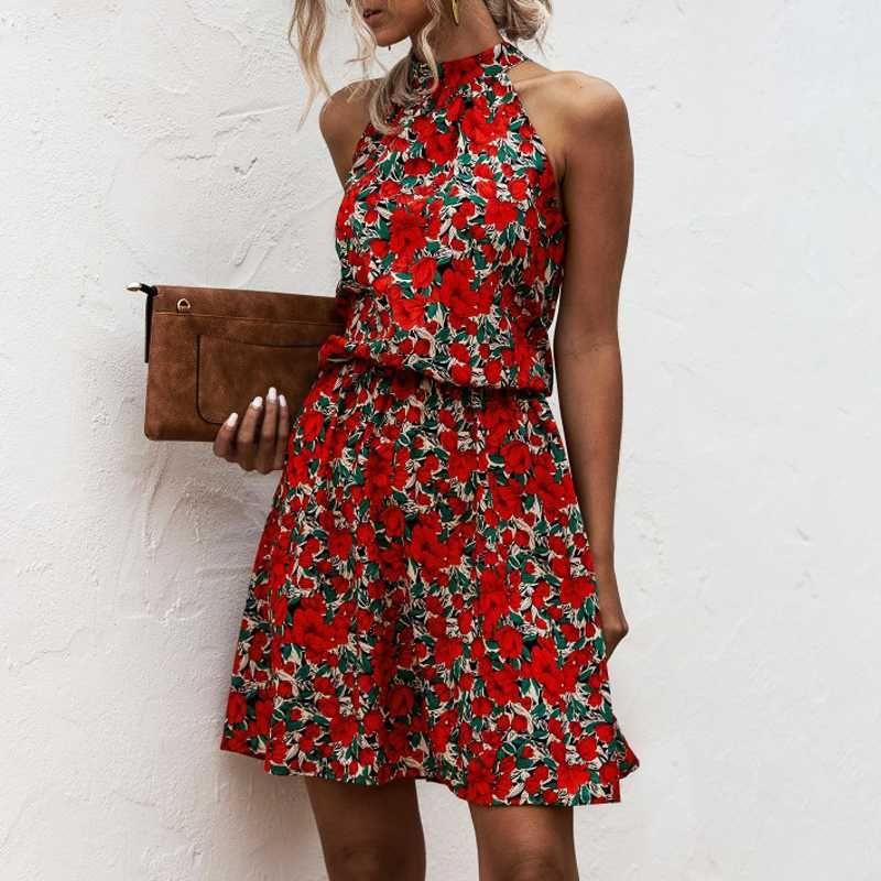Vestidos de festa verão sexy halter lace up floral impressão mini vestido 2021 vintage curto sem mangas praia casual para mulheres