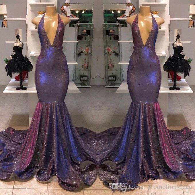 2019 Sparkle Reflective Purple Sequined Prom Dress 리얼 이미지 Deep V 넥 인어 홀터 Long Evening Gowns 저렴한 Vestidos