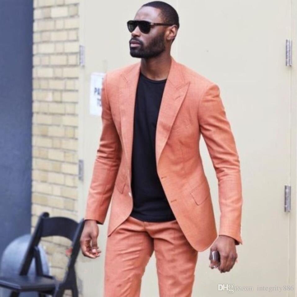 New Fashion Orange Bräutigam Smoking Peak Revers Groomsmen Hochzeit Smoking Ausgezeichnete Männer Formale Blazer Prom Jacke Anzug (Jacke + Pants + Tie) 2565