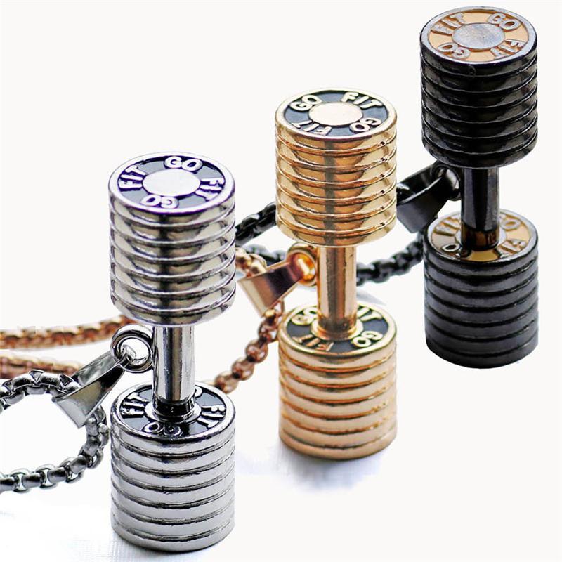 Casais de aço inoxidável barbell pingente de jóias esportes colar de pingente de haltere