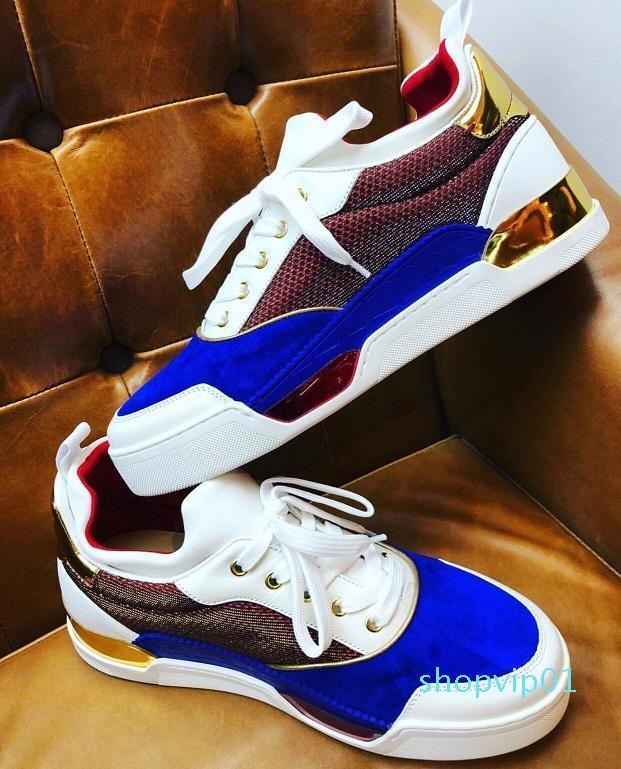 Üst Kalite Doğa Sporları Boş Flats Lüks Man Kırmızı Alt Sneaker EU38-46 ile Originals Kutusu Yeni Tasarımcı Aurelien Sneakers Düz