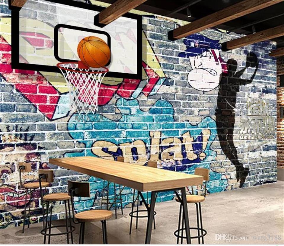 Custom Size 3d Photo Wallpaper Bed Room Mural Basketball Graffiti