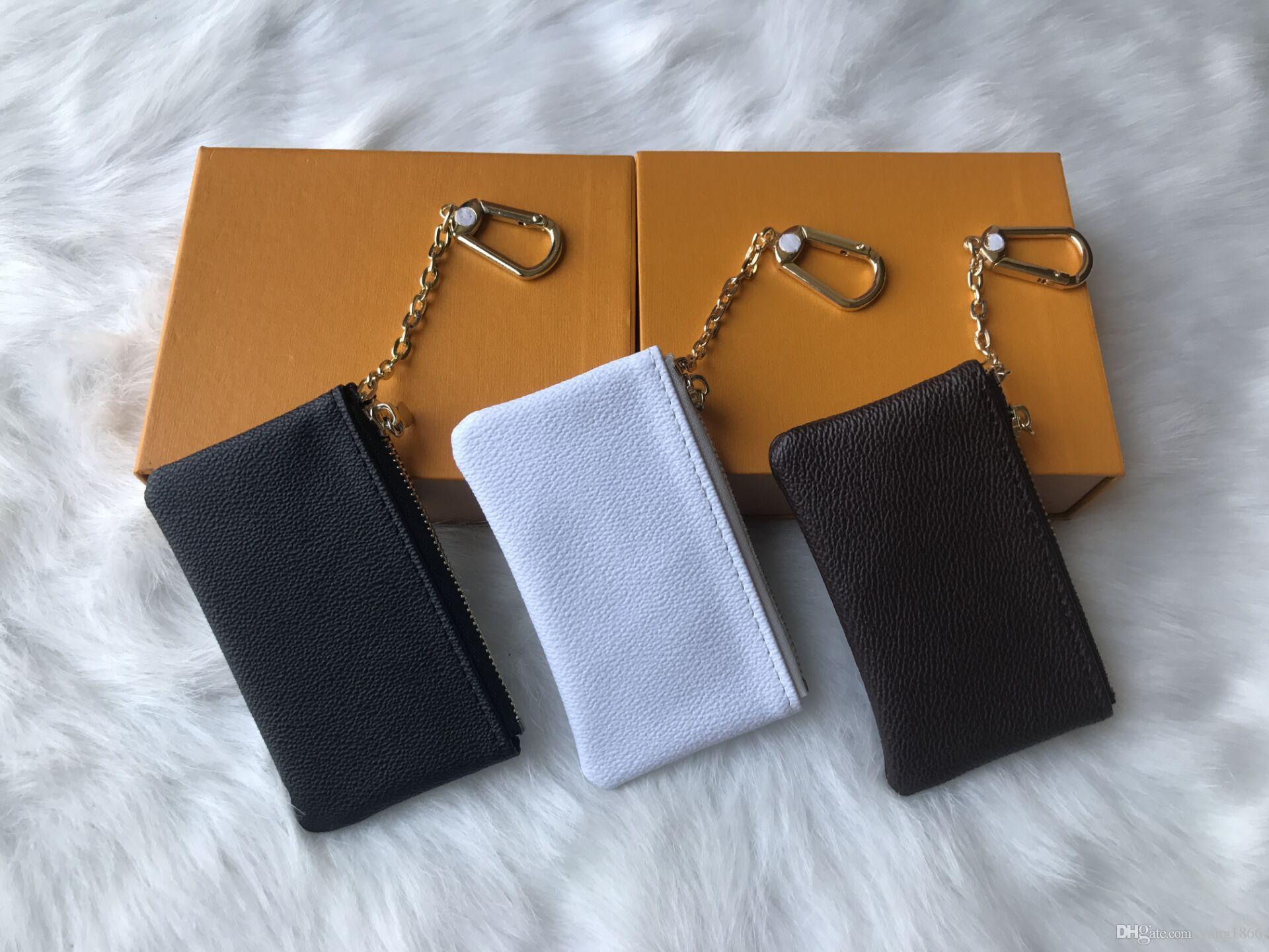 4 renk ANAHTAR ÇANTASı Damier deri yüksek kalite ünlü tutan klasik tasarımcı kadın anahtarlık sikke çanta küçük deri Anahtar cüzdan