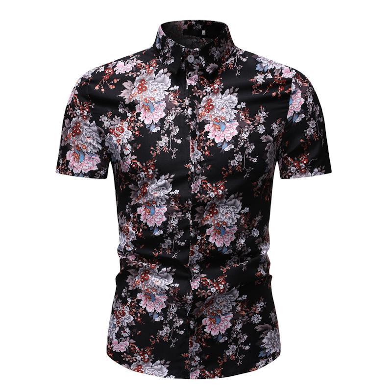 20120 Estate Nuovi prodotti Uomo Fashion Casual manica corta stampata Camicia teenager Cotone Lino