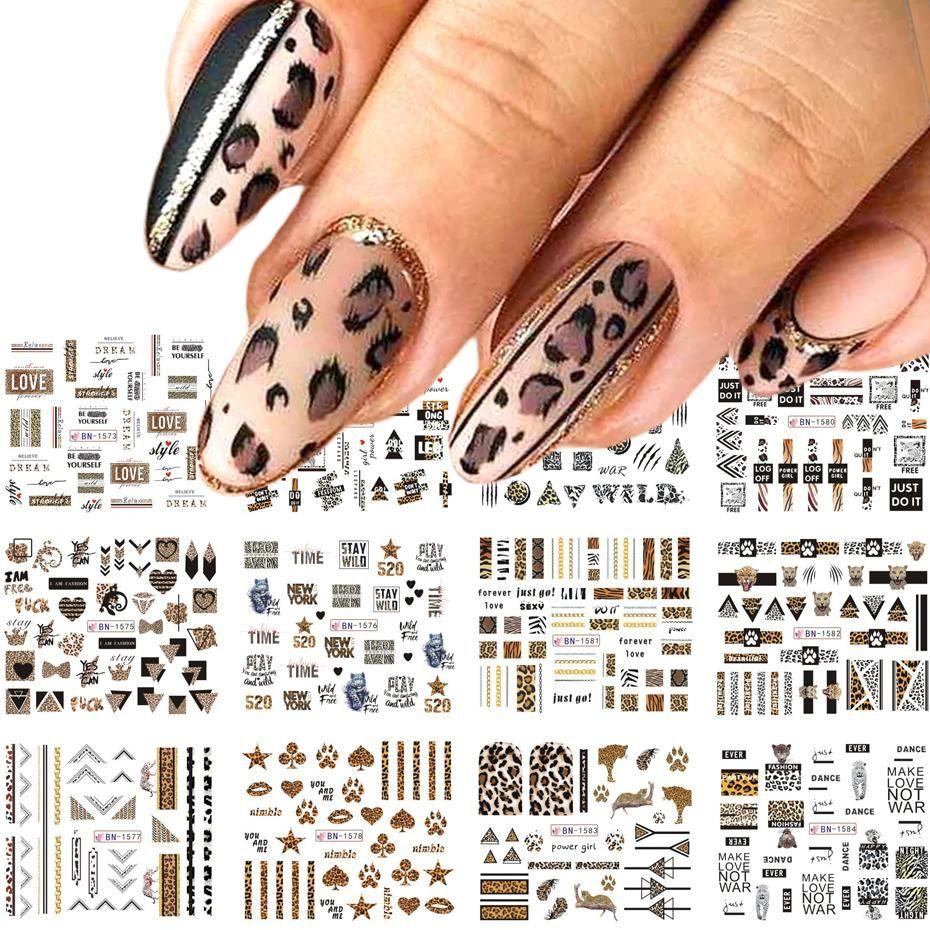 12 adet leopar mektuplar tırnak Sticker kaydırıcılar su transferi çıkartmaları seksi Hayvanlar Nail Art dövme folyo manikür sarar TRBN1573-1584