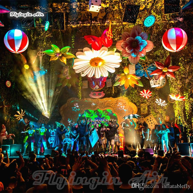 Amazing Stage Decorative Hanging Lighting Simulated Inflatable Colorful Flower With Led Lights For Fairy Tale Jungle Theme Decoration