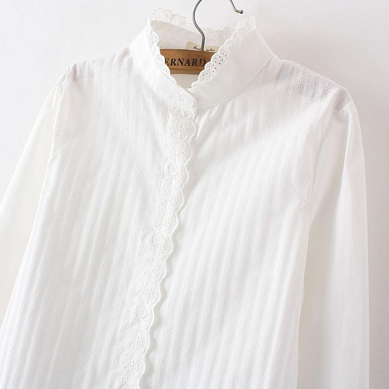 100% algodón de Corea que basa informal camisa de cuello de encaje camisa fresca pequeña manga larga femenina delgada blanco dulce básico Tops