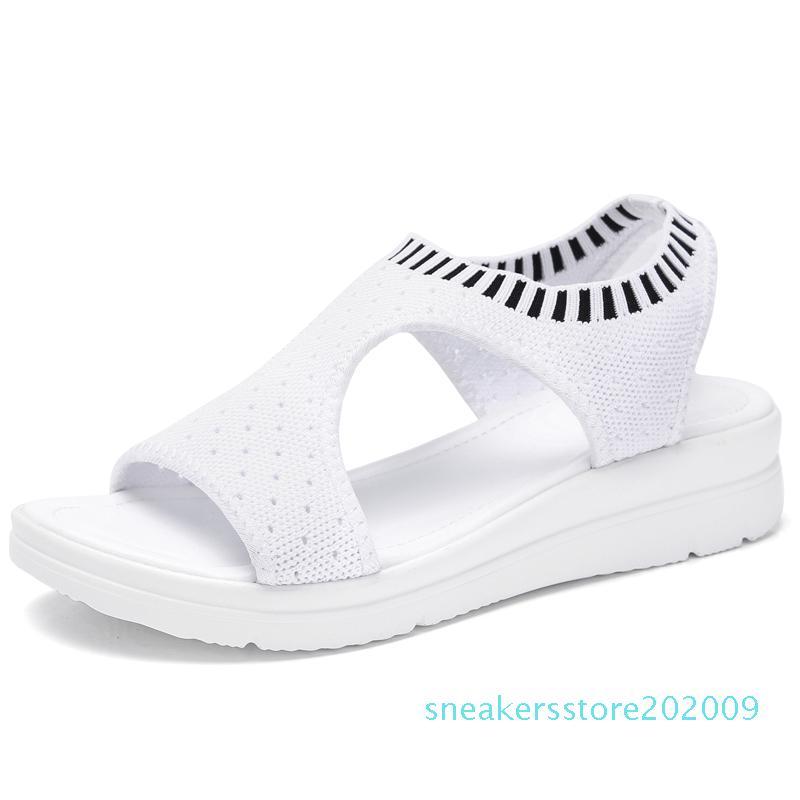 Hot Sale-Sommer-Frauen-Sandelholz-Plus-Größe 35-45 Keil-Breathable Ineinander greifen Schuhe Weibliche Peep Toe Damen Feste Slip-on Bequeme Schuhe Damen s09