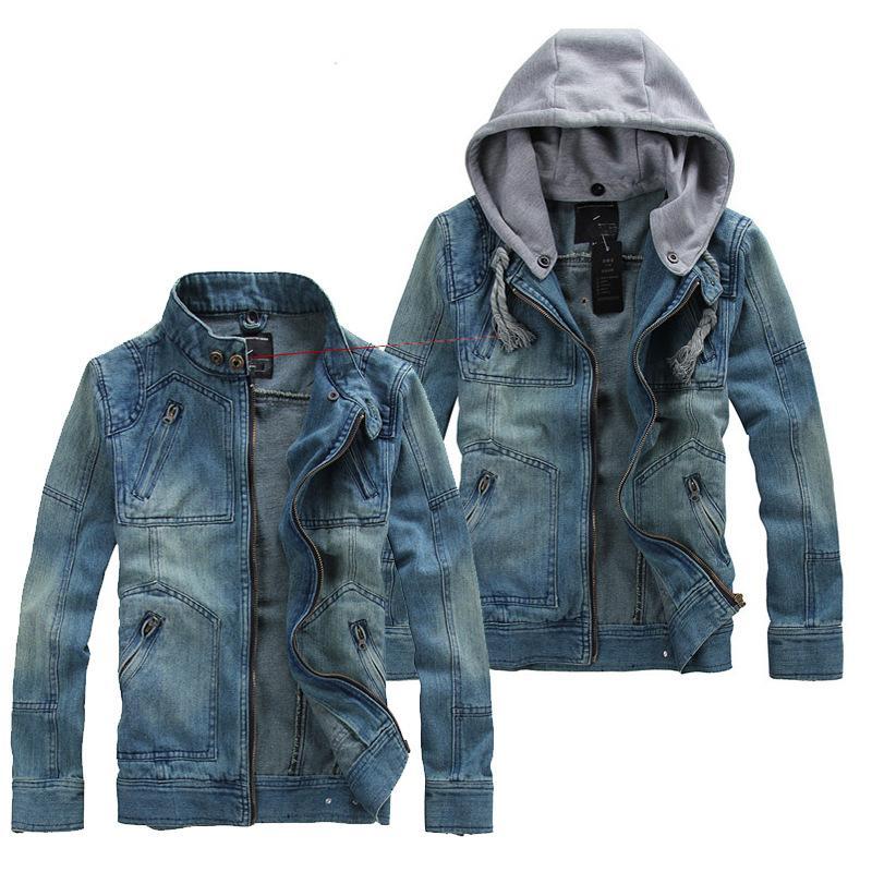 Мужские куртки осень мода джинсовые джинсы с капюшоном с капюшоном пальто мужской тонкий подходящий повседневный капюшон мужской карманный пиджак пальто плюс размер