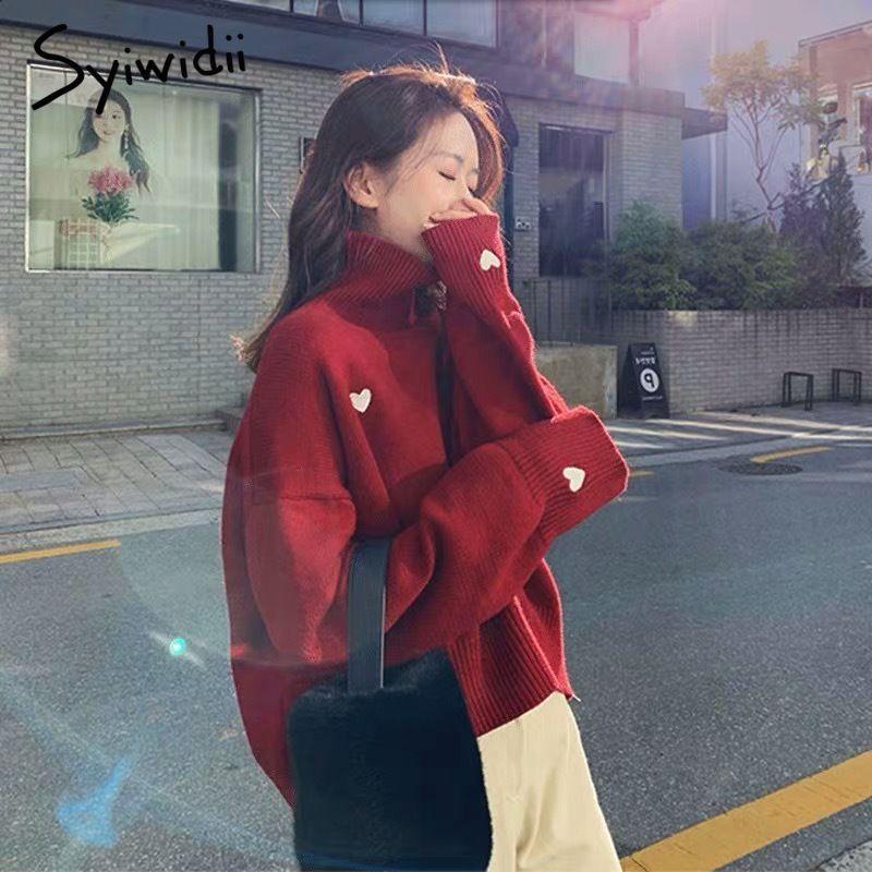 jersey de las mujeres syiwidii suéter bordado del corazón del cuello alto de punto jersey de la manga del Batwing de ropa de invierno las mujeres superior coreano 2020 nuevo