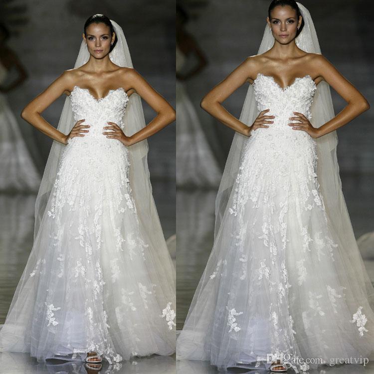 Winter Elie Saab A Line Wedding Dresses Strapless Lace Appliqued Bridal Gowns White Tulle 3D Flower Wedding Dress robes de mariée