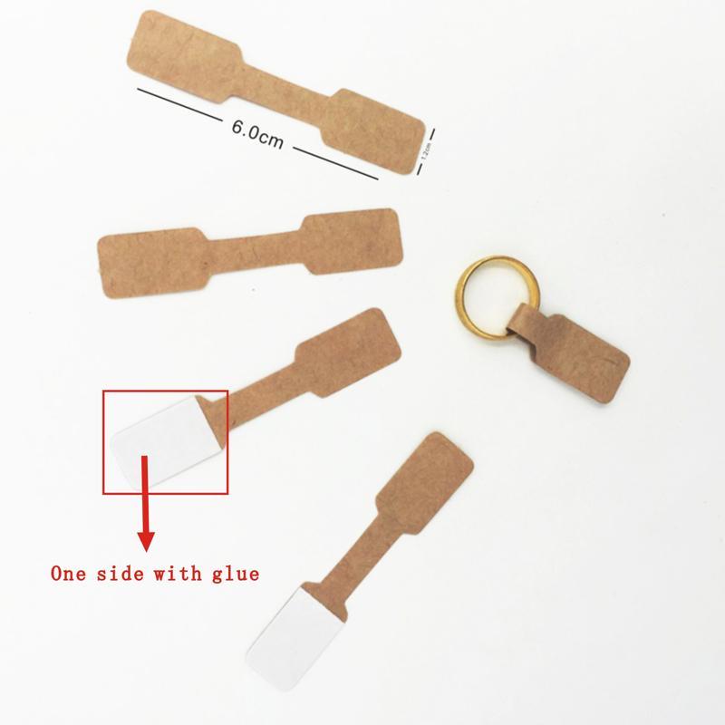 100 قطع 1.2x6 سنتيمتر براون الأبيض ورقة تسميات بطاقة عرض المجوهرات الدائري ملصق هانجتاج فارغة ورقة ثمن تسميات التغليف