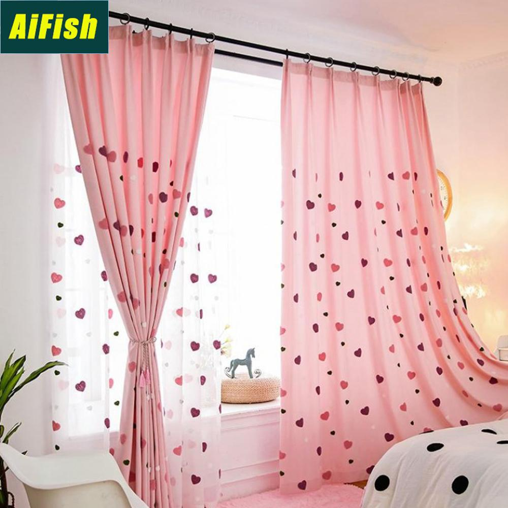 Heart Shape Semi Blackout Pink Curtains Kids Girls Bedroom White Sheer Curtains Curtain Tulle Panel M057 25 Y200421 Dupioni Silk Drapes Cheap Curtain From Shanye09 18 27 Dhgate Com