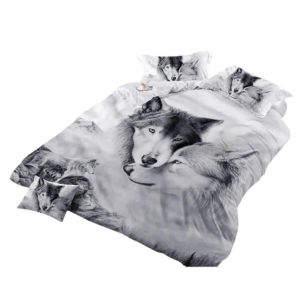 3D 보혜사 침대는 더블 늑대 커플 키즈 3D 침구 회색 늑대 이불 커버 세트에게 이불 커버 회화 3 개 쿨 #N을 설정합니다