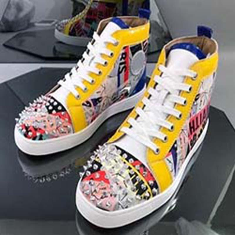 Erkekler ve Kadınlar Ayakkabı Parti Düğün kristal Deri S o1 için Sneakers Kırmızı Düz Tabanlı Studs ayakkabı Düşük Kesim Çivili SpikesShoes
