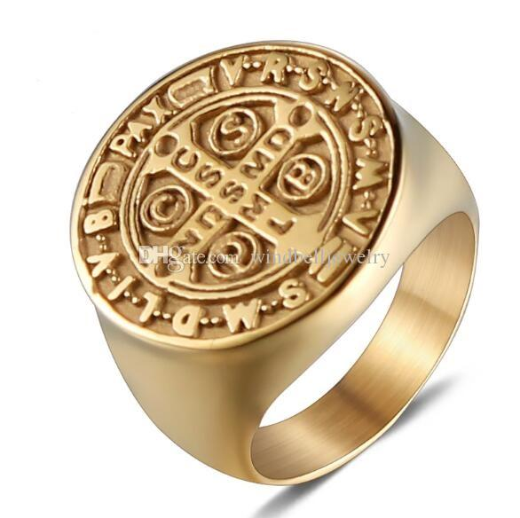 Classical 316L Stainless Steel Religious Gold Ring For Men Punk Style Viking Across Ring Titanium Steel Free and Accepted Masons