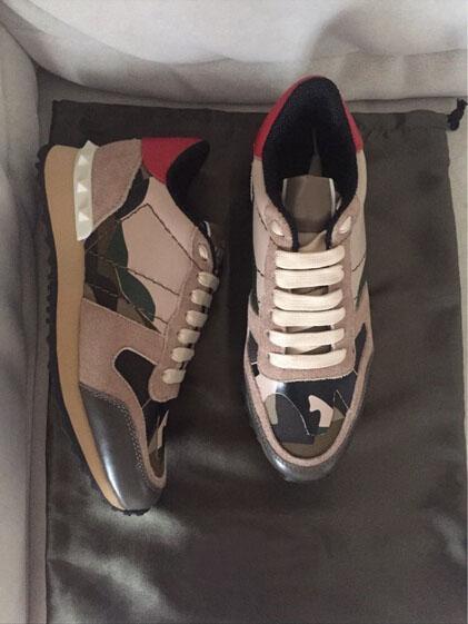 Sıcak!! Yeni Moda erkek ve kadınlar spor ayakkabı Süper Kalite Kamuflaj Deri Dantel-up Ayakkabı 35-46 ücretsiz kargo