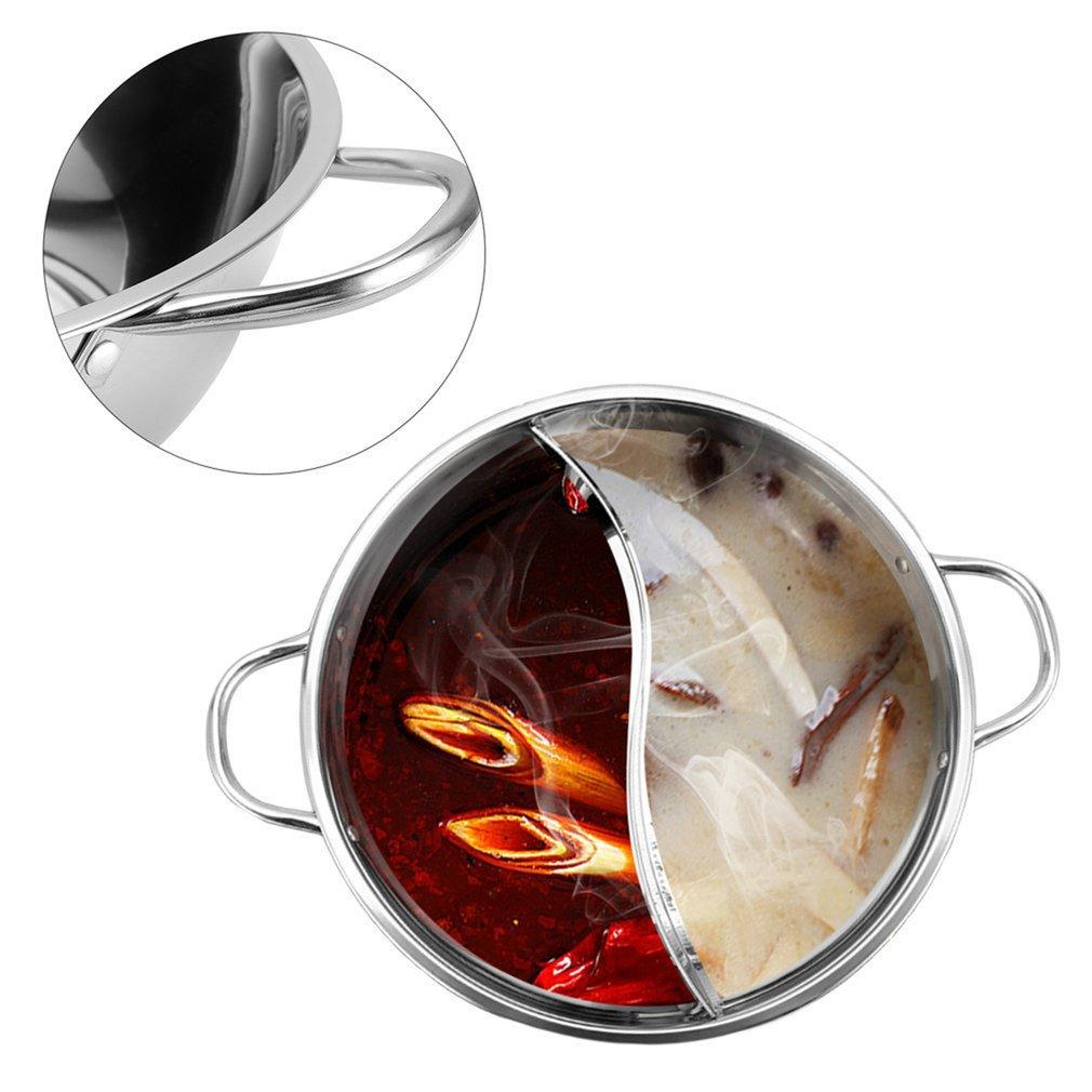 Gas Stove Shabu Hot Pot Stainless Steel,Chinese Induction Shabu Pot with Divider for Kitchen Cooker