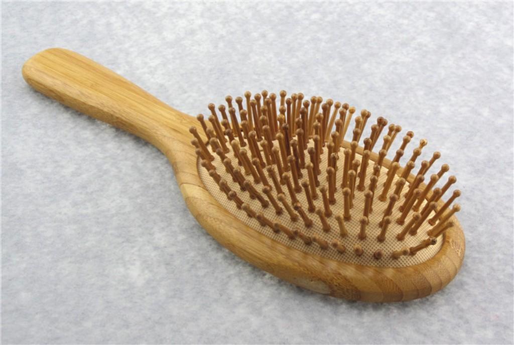Tamanho Grande Natural Escova de bambu Cuidados cabelo saudável Massagem Combs antiestático Detangling Airbag hairbrush ferramenta Styling