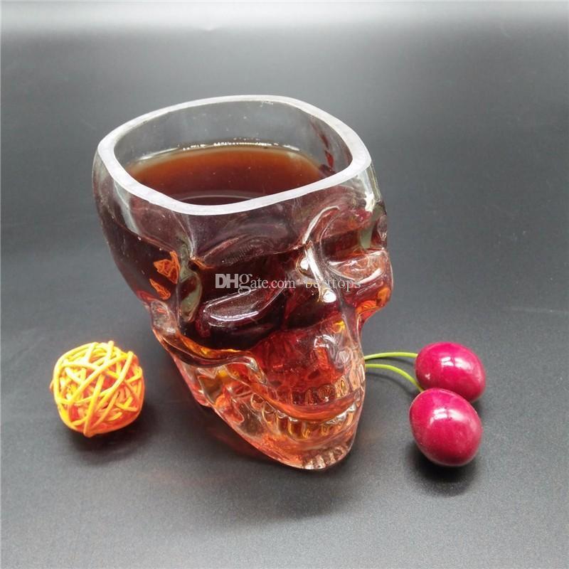 크리스탈 해골 헤드 보드카 와인 샷 유리 마시는 컵 80 미리리터 해골 해적 진공 맥주 잔
