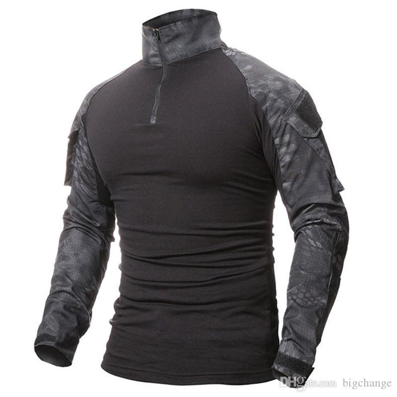 가을 남성 위장 인쇄 육군 T 셔츠 남성 T 셔츠 카모 긴 소매 T 셔츠 플러스 사이즈 M-2XL